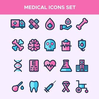 Conjunto de ícones de linha cheia no tema médico