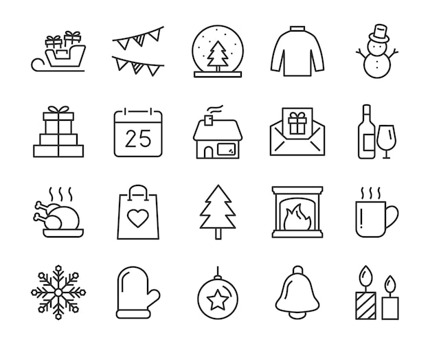 Conjunto de ícones de linha chistmas, como caixa, presente, inverno