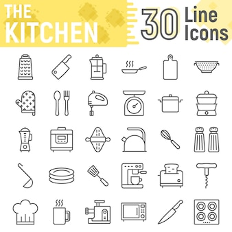 Conjunto de ícones de linha cozinha, coleção de sinais domésticos