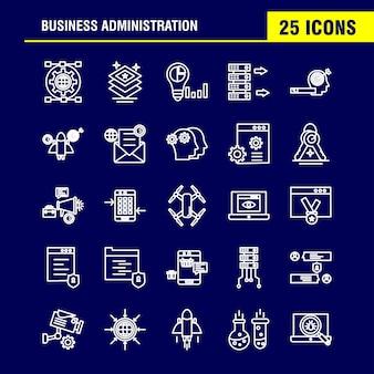 Conjunto de ícones de linha de administração de empresas