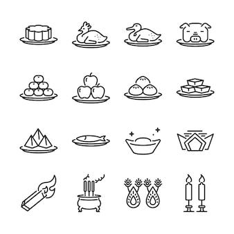 Conjunto de ícones de linha de adoração ancestral chinês.