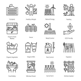 Conjunto de ícones de linha de agricultura biológica