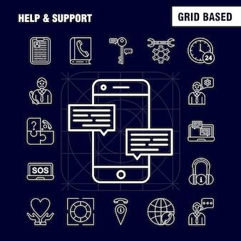 Conjunto de ícones de linha de ajuda e suporte