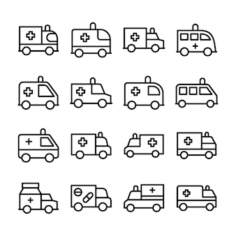 Conjunto de ícones de linha de ambulância