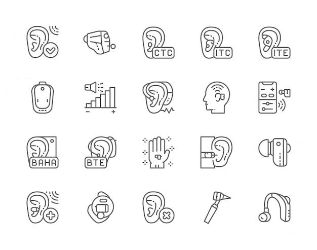 Conjunto de ícones de linha de aparelho auditivo.
