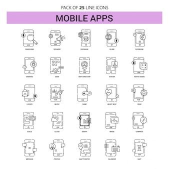 Conjunto de ícones de linha de aplicativos móveis - 25 estilo de contorno esboçado