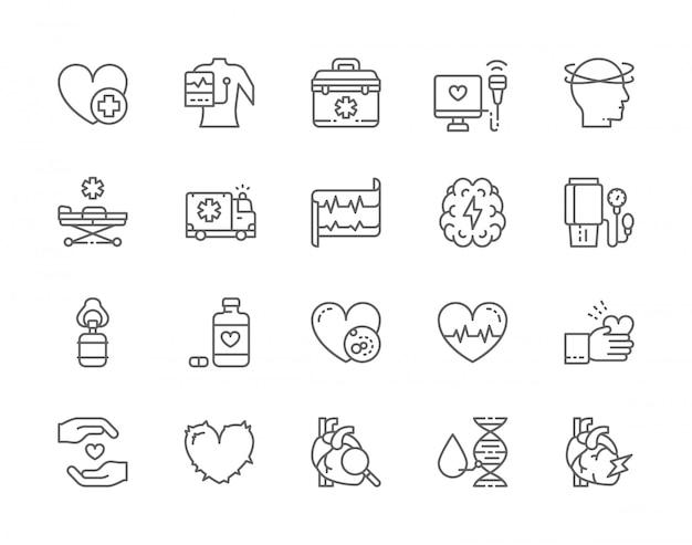 Conjunto de ícones de linha de ataque cardíaco.