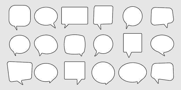 Conjunto de ícones de linha de balões de fala Vetor Premium
