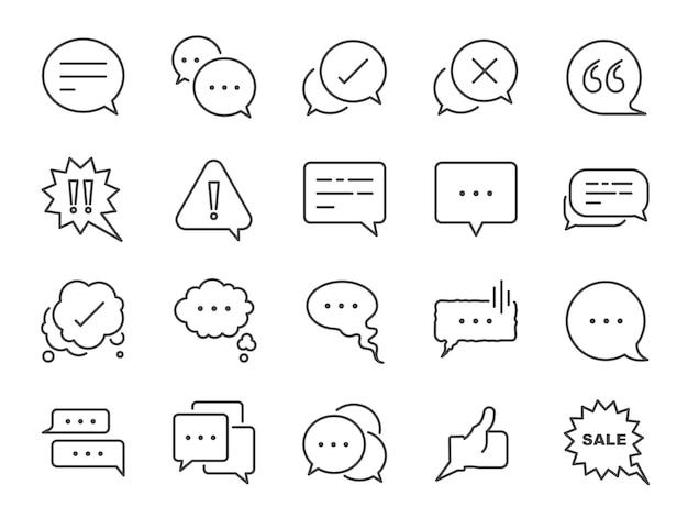 Conjunto de ícones de linha de bate-papo e cotação.