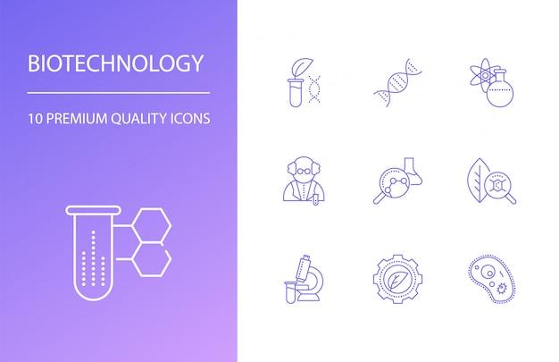 Conjunto de ícones de linha de biotecnologia