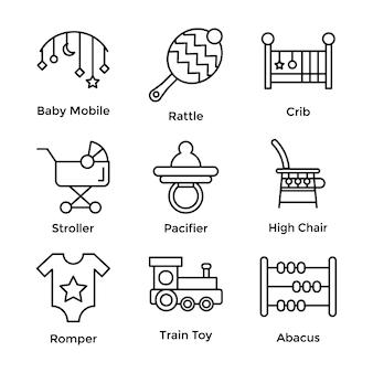 Conjunto de ícones de linha de brinquedos de bebê