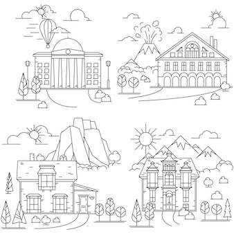 Conjunto de ícones de linha de casa na natureza paisagens com montanhas, vulcão e rochas