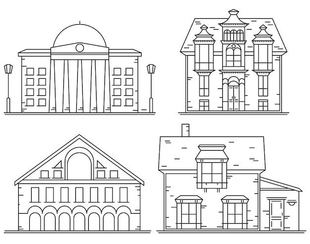 Conjunto de ícones de linha de casas