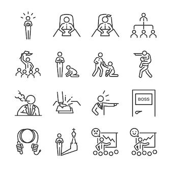 Conjunto de ícones de linha de chefe.
