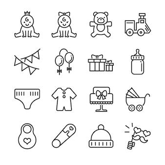 Conjunto de ícones de linha de chuveiro de bebê.