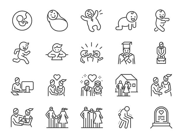 Conjunto de ícones de linha de ciclo de vida