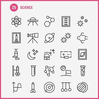 Conjunto de ícones de linha de ciência