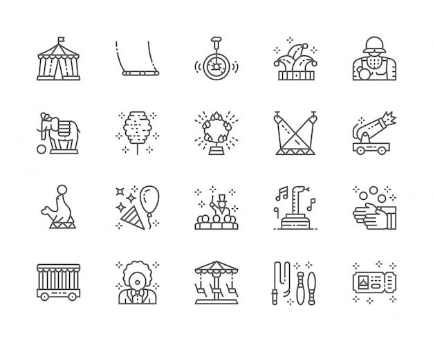 Conjunto de ícones de linha de circo. palhaço, balanço, chapéu de bobo da corte, elefante, lobo-marinho, malabarista e muito mais.