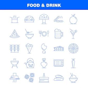 Conjunto de ícones de linha de comida e bebida