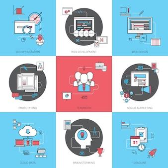 Conjunto de ícones de linha de conceito de negócio