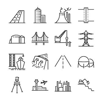 Conjunto de ícones de linha de construção de engenharia.