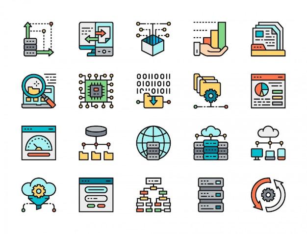 Conjunto de ícones de linha de cor de análise de dados. hospedagem, algoritmo de programa, banco de dados