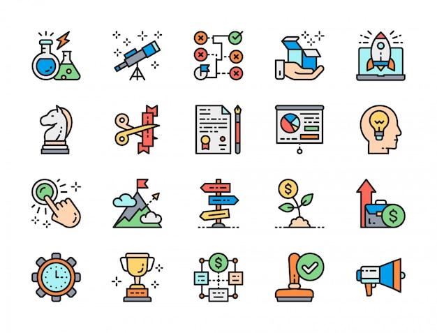 Conjunto de ícones de linha de cor de inicialização. megafone, carimbo, troféu, apresentação e muito mais
