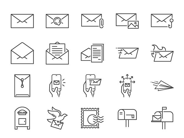 Conjunto de ícones de linha de correio.