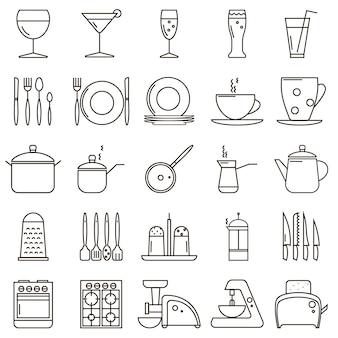 Conjunto de ícones de linha de cozinha
