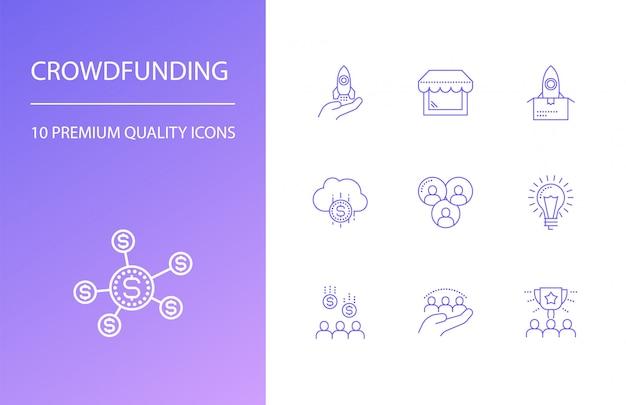 Conjunto de ícones de linha de crowdfunding