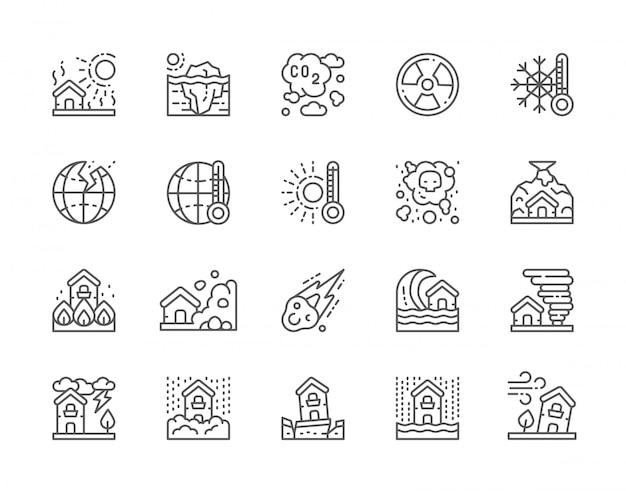 Conjunto de ícones de linha de desastres naturais