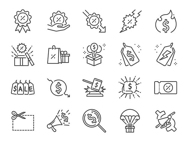 Conjunto de ícones de linha de desconto.