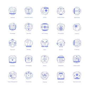 Conjunto de ícones de linha de desenhos criativos