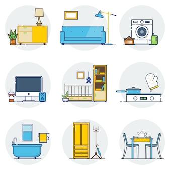 Conjunto de ícones de linha de design de interiores.