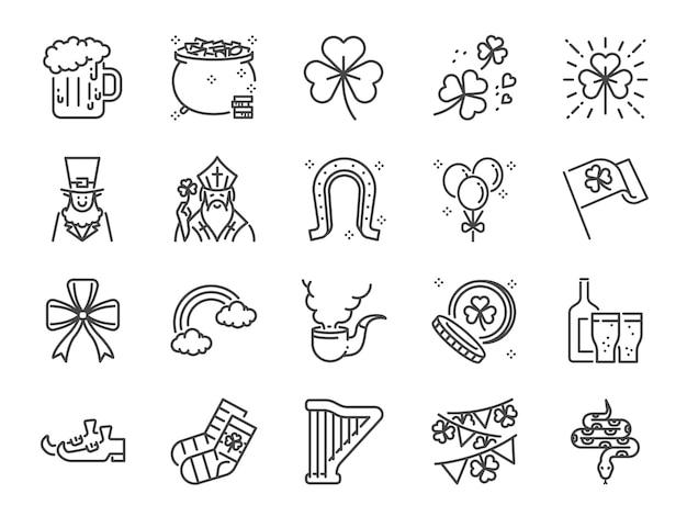 Conjunto de ícones de linha de dia de são patrício.