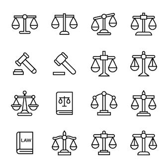 Conjunto de ícones de linha de direito