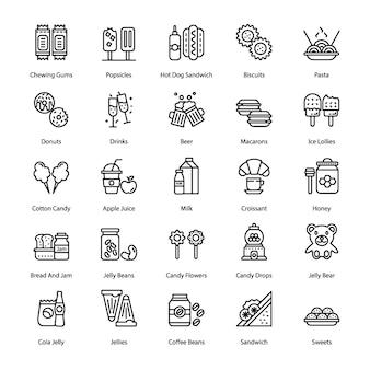 Conjunto de ícones de linha de doces e sobremesas