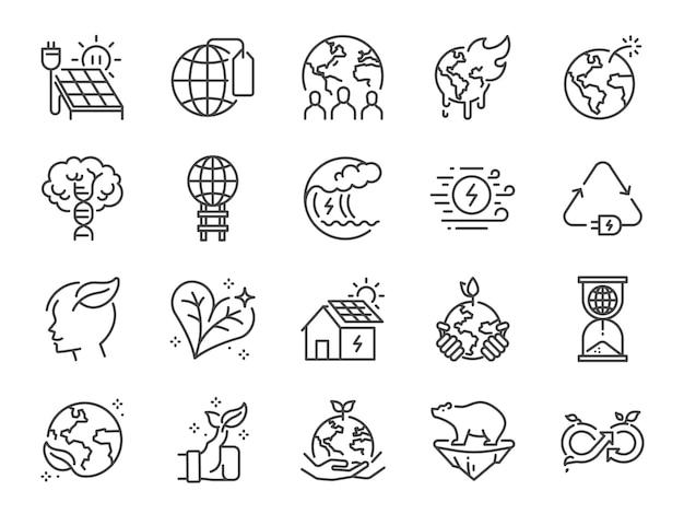 Conjunto de ícones de linha de ecologia.