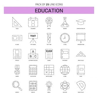Conjunto de ícones de linha de educação - 25 estilo de contorno esboçado