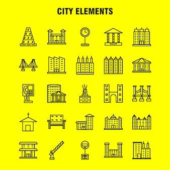 Conjunto de ícones de linha de elementos de cidade