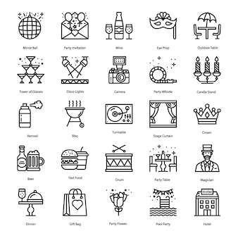 Conjunto de ícones de linha de elementos de festa