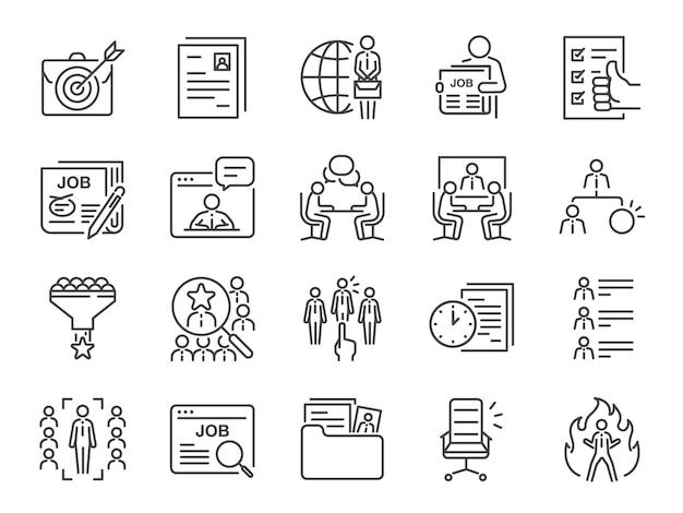 Conjunto de ícones de linha de empregos.