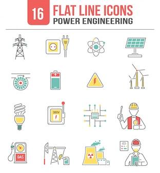 Conjunto de ícones de linha de energia de energia