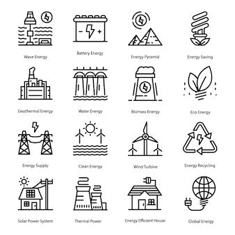 Conjunto de ícones de linha de energia