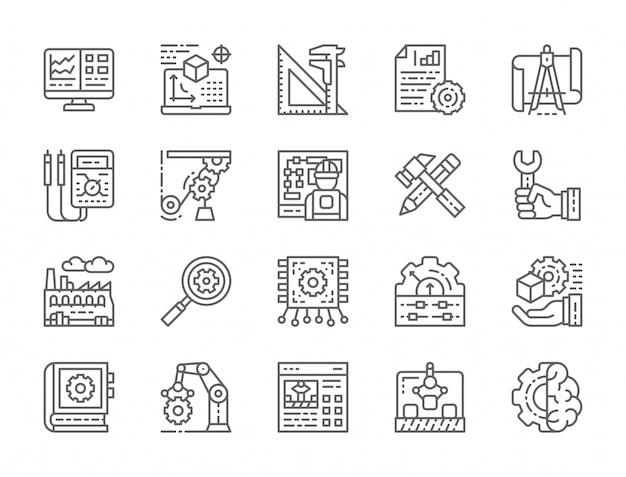 Conjunto de ícones de linha de engenharia e fabricação