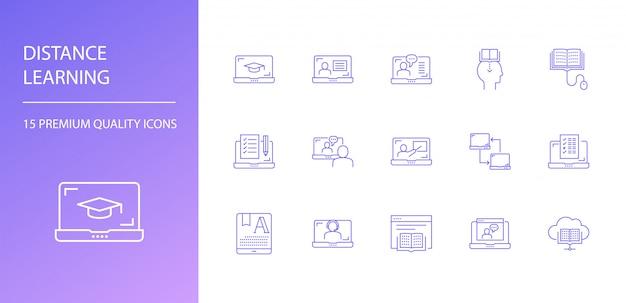 Conjunto de ícones de linha de ensino a distância
