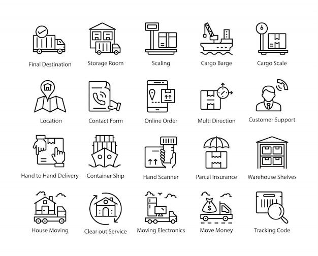 Conjunto de ícones de linha de entrega de logística