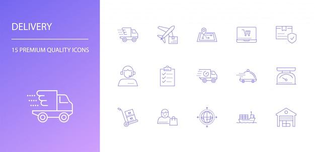 Conjunto de ícones de linha de entrega.