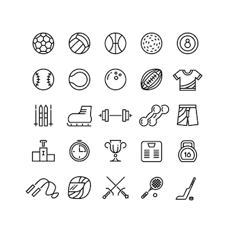 Conjunto de ícones de linha de equipamento de desgaste de esportes