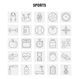 Conjunto de ícones de linha de esportes